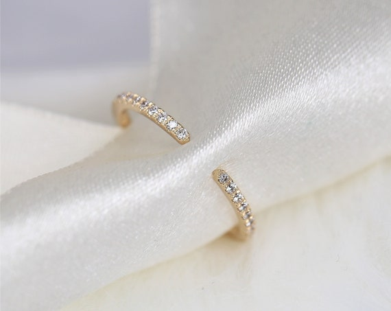 Ofelia 14kt Gold Pave Diamond Minimalist Open Cuff Ring,Dainty Stacking Ring,Promise Ring,Rosados Box