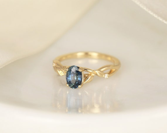 1.30ct Ready to Ship Fern 14kt Solid Gold Deep Ocean Teal Sapphire Diamond Nature Leaf Art Deco Oval Ring,Rosados Box
