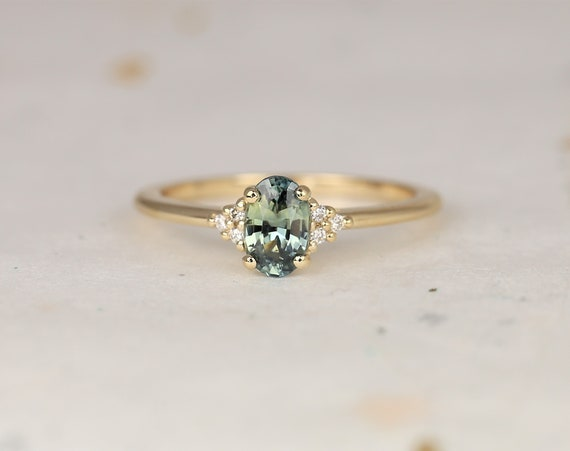 0.76ct Ready to Ship Juniper 14kt Gold Jungle Teal Sapphire Diamond Dainty Oval Cluster 3 Stone Ring,Rosados Box