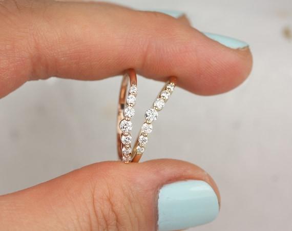 Nova 14kt Rose Gold Diamonds Single Prong Minimalist Tiara Crown Nesting Ring,Rosados Box