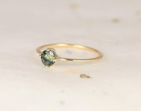 0.49ct Ready to Ship Ultra Petite Kiki 14kt Gold Smokey Jungle Green Teal Sapphire Dainty Kite Set Minimalist Stacking Ring,Rosados Box