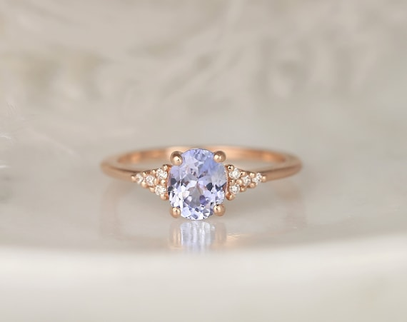1.20ct Ready to Ship Maddy 14kt Rose Gold Cornflower Lavender Sapphire Diamond Dainty Oval Cluster 3 Stone Ring,Rosados Box