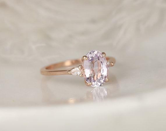 2.80ct Ready to Ship Petite Emery 14kt Rose Gold Blush Peach Sapphire Diamond Minimalist 3 Stone Pear Oval Engagement Ring,Rosados Box