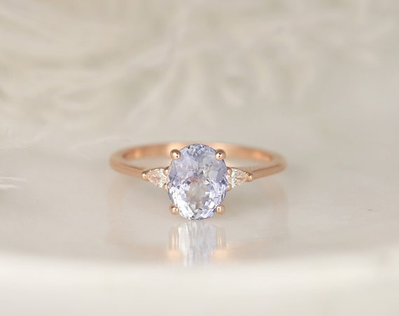 2.52ct Ready to Ship Petite Emery 14kt Rose Gold Lavender Cornflower Blue Sapphire Diamond Minimalist 3 Stone Oval Ring,Rosados Box