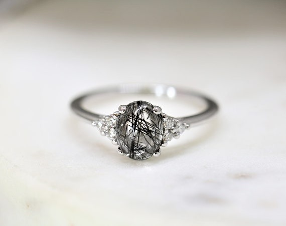 Juniper 8x6mm 14kt White Gold Tourmalinated Quartz Diamonds Dainty Oval Cluster 3 Stone Engagement Ring,Rosados Box