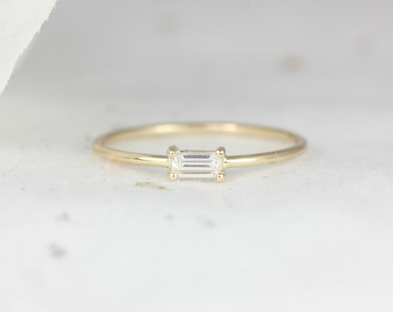 Ultra Petite Betty 14kt Solid Gold Forever One Moissanite Baguette Dainty Ring,Anniversary Band,Stacking Ring,Rosados Box