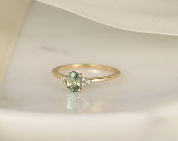 0.88ct Ready to Ship Juniper 14kt Gold Green Tea Teal Sapphire Diamond Dainty Oval Cluster 3 Stone Ring,Rosados Box