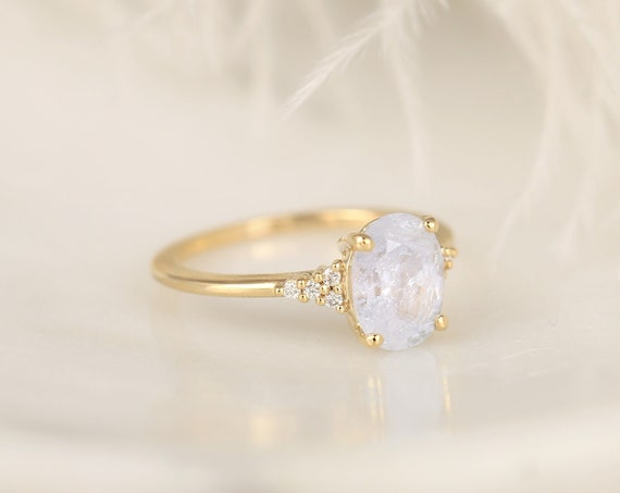 2.36ct Ready to Ship Maddy 14kt Gold Icy Frosted Galaxy Sapphire Diamond Dainty Oval Cluster 3 Stone Ring,Rosados Box