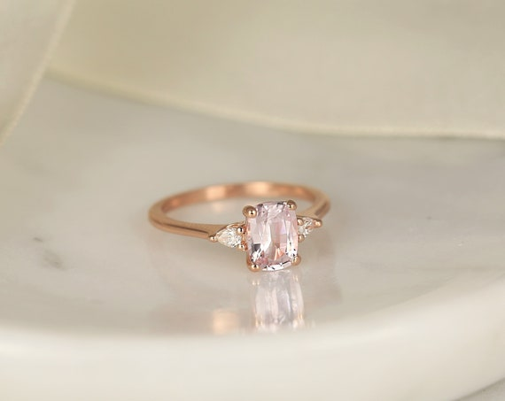 1.40ct Ready to Ship Petite Ellis 14kt Rose Gold Blush Peach Sapphire Diamond Minimalist 3 Stone Pear Cushion Engagement Ring,Rosados Box