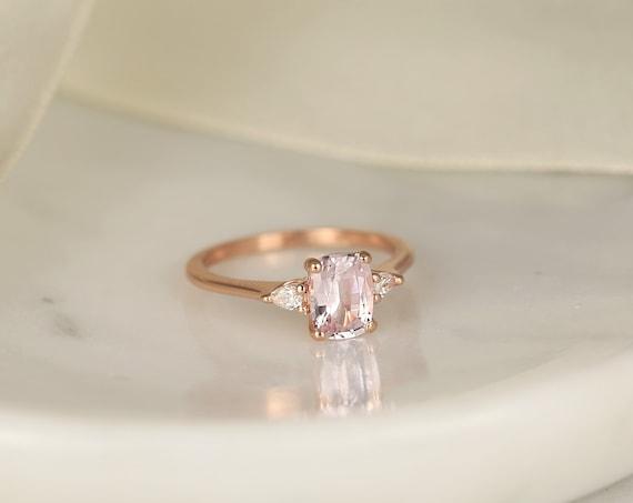 1.40ct Ready to Ship Petite Ellis 14kt Rose Gold Blush Peach Sapphire Diamond Minimalist 3 Stone Pear Cushion Engagement Ring,Rosados Box