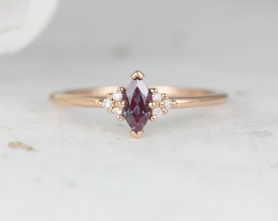 Charlie 6x3mm 14kt Rose Gold Alexandrite Sapphire Dainty Marquise Cluster 3 Stone Stack Ring,Rosados Box