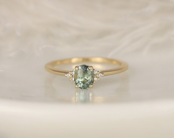 0.91ct Ready to Ship Juniper 14kt Gold Peacock Teal Sapphire Diamond Dainty Oval Cluster 3 Stone Ring,Rosados Box