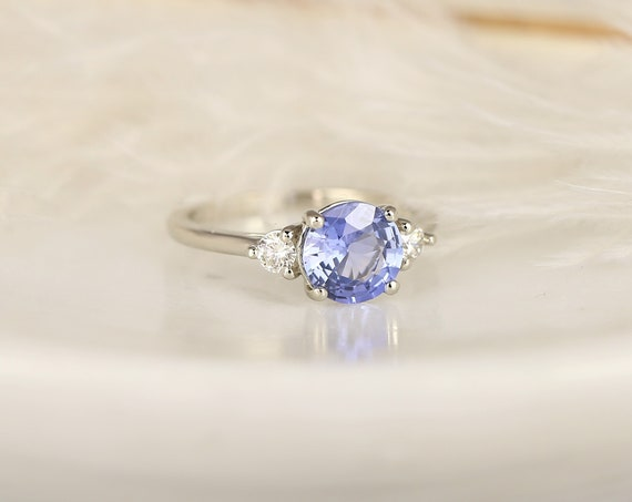 1.65ct Ready to Ship Colette 14kt White Gold Lilac Cornflower Blue Sapphire Diamond Minimalist 3 Stone Round Engagement Ring,Rosados Box