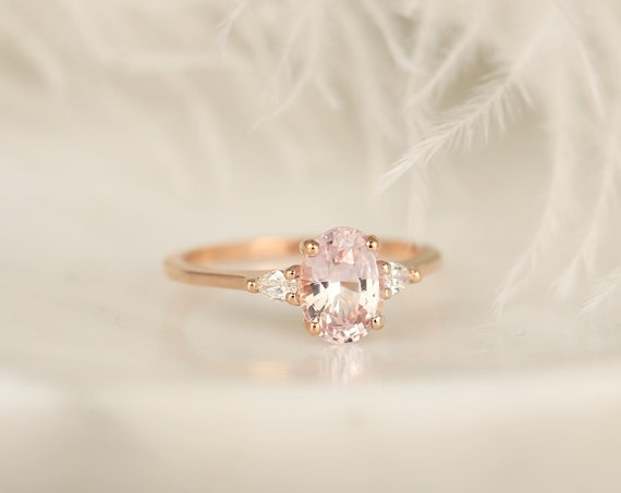 1.62ct Ready to Ship Petite Emery 14kt Rose Gold Blush Peach Sapphire Diamond Minimalist 3 Stone Pear Oval Engagement Ring,Rosados Box