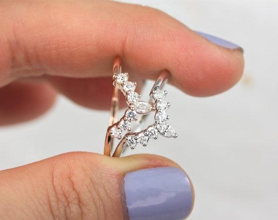 Marjorie 14kt Solid Rose Gold Tiara Crown Diamonds Band Nesting Ring,Rosados Box