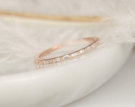 Ultra Petite Lane 1mm 14kt Rose Gold Diamond Dainty Baguette Minimalist HALFWAY Eternity Ring,Stacking Ring,Anniversary Gift,Rosados Box
