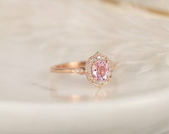 0.92ct Ready to Ship Mae 14kt Rose Gold  Peach Blush Champagne Sapphire Diamond Halo WITH Milgrain Art Deco Engagement Ring,Rosados Box
