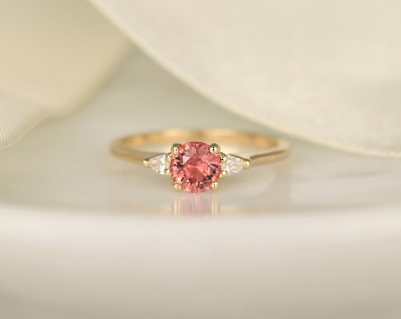 0.88ct Ready to Ship Petite Elise 14kt Gold Coral Sorbet Peach Sapphire Diamond Minimalist 3 Stone Round Engagement Ring,Rosados Box