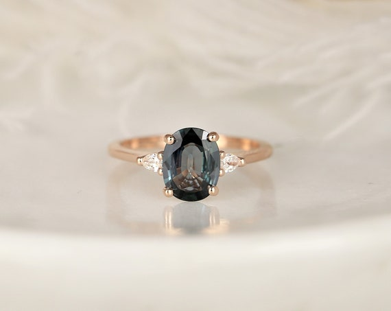 1.58cts Ready to Ship Petite Emery 14kt Rose Gold Ocean Blue Teal Sapphire Diamond Pear 3 Stone Oval Engagement Ring,Rosados Box