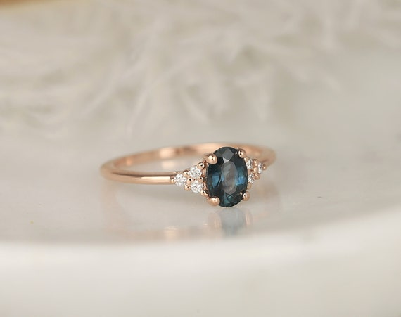 1.02ct Ready to Ship Juniper 14kt Rose Gold Ocean Blue Teal Sapphire Diamond Dainty Oval Cluster 3 Stone Ring,Rosados Box