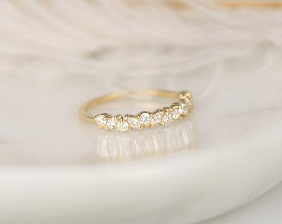 Rosemary 14kt Gold Diamond Dainty Cluster HALFWAY Eternity Ring,Art Deco Band,Anniversary Ring,Rosados Box