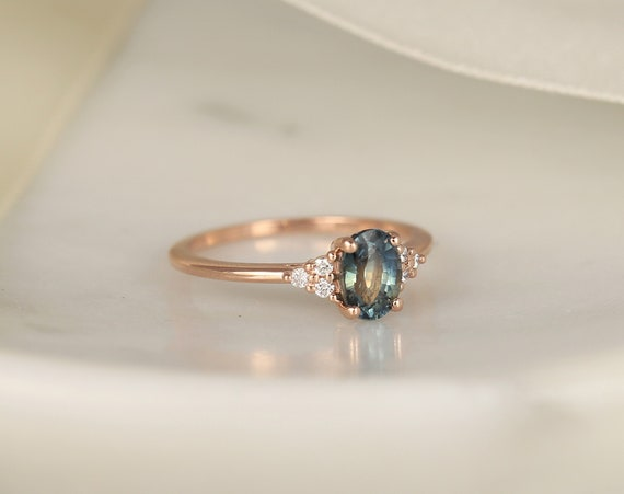 1.14ct Ready to Ship Juniper 14kt Rose Gold Ocean Blue Teal Sapphire Diamond Dainty Oval Cluster 3 Stone Ring,Rosados Box