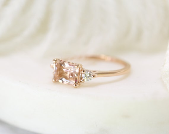 Saint 8x6mm 14kt Rose Gold Morganite Moissanite Dainty Unique 3 Stone Emerald Engagement Ring,Rosados Box