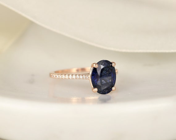 2.65ct Ready to Ship Blake 14kt Rose Gold Hidden Galaxy Deep Blue Sapphire Dainty Oval Solitaire Engagement Ring,Rosados Box