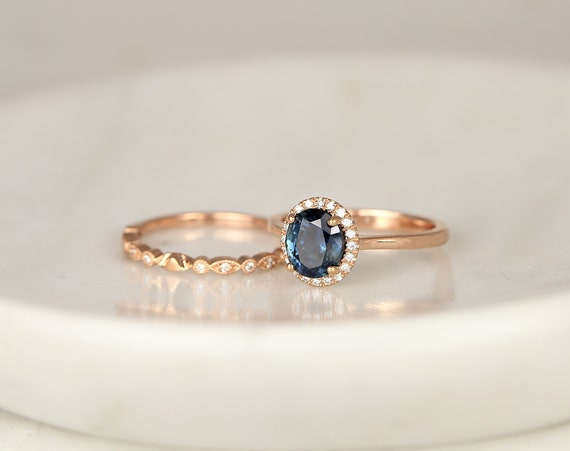 2.33ct Ready to Ship Molly & Gwen 14kt Rose Gold Ocean Blue Teal Sapphire Diamond Art Deco Oval Halo Wedding Set Rings,Rosados Box