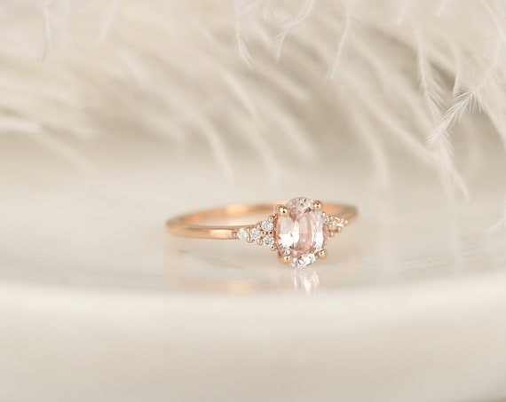 1.18cts Ready to Ship Maddy 14kt Rose Gold Blush Peach Sapphire Diamond Cluster 3 Stone Oval Engagement Ring,Rosados Box