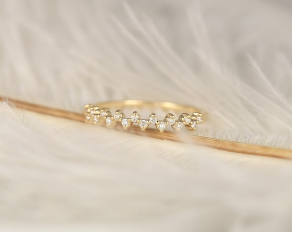 Ziggy 14kt Gold Diamond Dainty Minimalist Zig Zag HALFWAY Eternity Ring,Scattered Stacking Ring,Constellation Anniversary Ring,Rosados Box