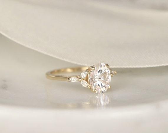Ready to Ship Genesis 9x7mm 14kt Yellow Gold Forever One Moissanite Diamonds Marquise Cluster 3 Stone Oval Engagement Ring, Rosados Box