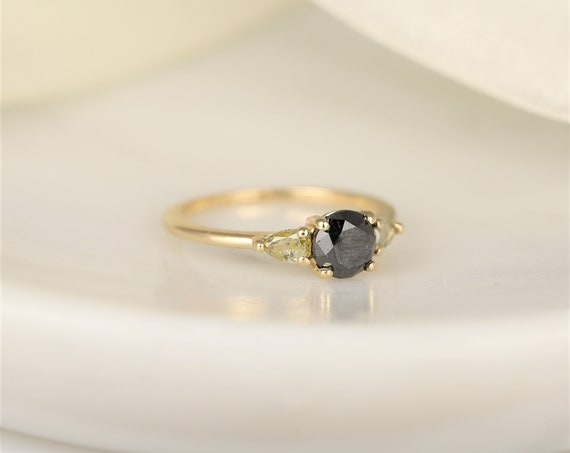 1.06ct Ready to Ship Elise 14kt Gold Black Champagne Diamond One of a Kind Minimalist 3 Stone Round Engagement Ring,Rosados Box