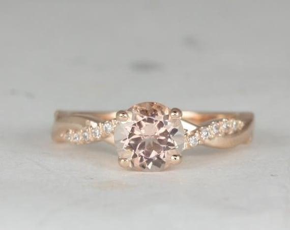 Rosados Box Tyra 7mm 14kt Rose Gold Round Morganite and Diamond Vine Twist Engagement Ring