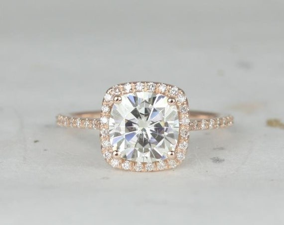 2ct Catalina 7.5mm 14kt Rose Gold Forever One Moissanite Diamond Dainty Micropave Cushion Halo Engagement Ring,Rosados Box
