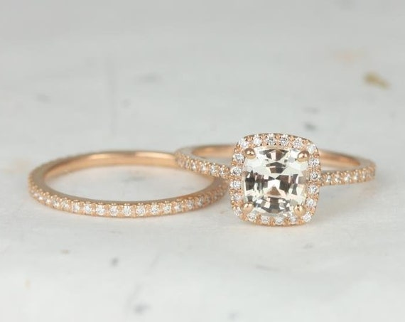 1.72ct Ready to Ship Catalina 14kt Rose Gold Icy Peach Sapphire Diamond Dainty Pave Cushion Halo Wedding Set Rings,Rosados Box