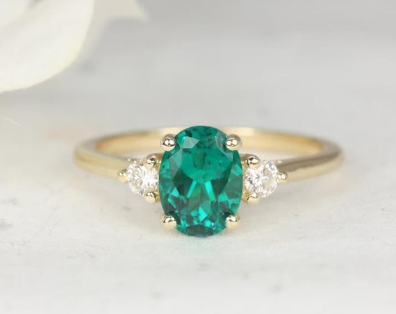 Gloria 8x6mm 14kt Gold Oval Green Emerald Diamonds Dainty 3 Stone Engagement Ring,May Birthstone Ring,Rosados Box