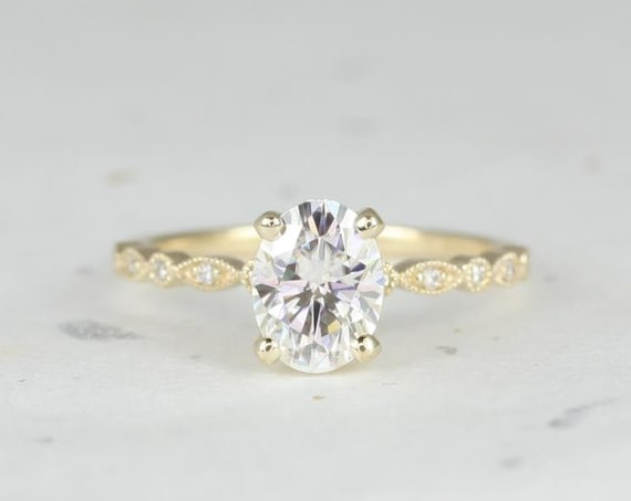 1.50cts Neda 8x6mm 14kt Gold Forever One Moissanite Diamond Petite Art Deco Vintage WITH Milgrain Oval Engagement Ring,Rosados Box