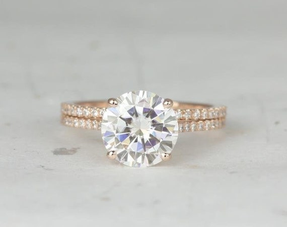 2.70ct Eloise 9mm 14kt Rose Gold Forever One Moissanite Diamonds Dainty Pave Cathedral Round Solitaire Accent Wedding Set Rings,Rosados Box