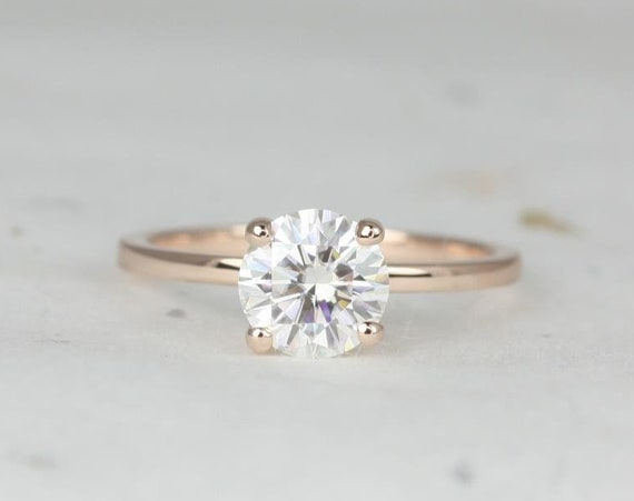 1.20ct Ella 7mm 14kt Rose Gold Forever One Moissanite Round Minimalist Dainty Solitaire Engagement Ring,Rosados Box