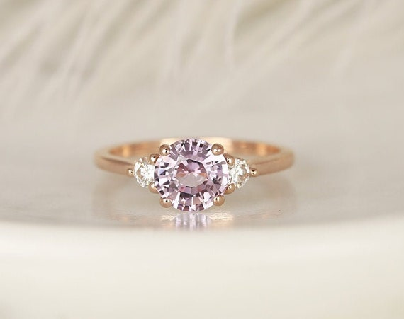 1.59ct Ready to Ship Colette 14kt Solid Rose Gold Blush Peach Sapphire Diamond Minimalist 3 Stone Round Engagement Ring,Rosados Box