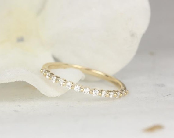 Ultra Petite Naomi/ Ultra Petite Bubble & Breathe 14kt Gold Diamond Single Prong HALFWAY Eternity Band Dainty Ring,Rosados Box