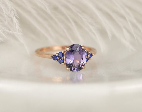 2.01ct Ready to Ship Juniper 14kt Rose Gold Violet Purple Blue Sapphire Art Deco Cluster 3 Stone Oval Unique Ring,Rosados Box