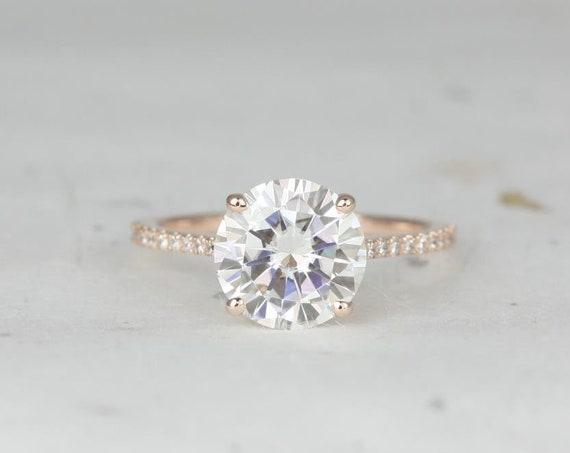 Rosados Box Ready to Ship Eloise 9mm 14kt WHITE Gold Round Forever One Moissanite Diamonds Thin Cathedral Solitaire Accent Engagement Ring