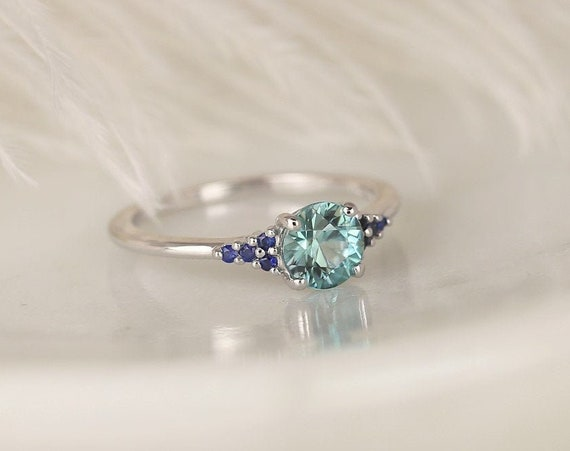 1.21ct Ready to Ship Malia 14kt White Gold Bright Teal Zircon Blue Sapphire Dainty Round 3 Stone Cluster Ring,Rosados Box