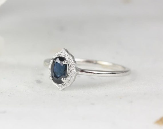 Mini Mae 6x4mm 14kt White Gold Blue Sapphire Diamond Dainty Art Deco Oval Halo WITH Milgrain Ring,Rosados Box
