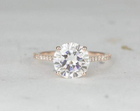 2.70ct Round Forever One Moissanite White Sapphires Thin Cathedral Engagement Ring,14kt Rose Gold,DIAMOND FREE Eloise 9mm,Rosados Box