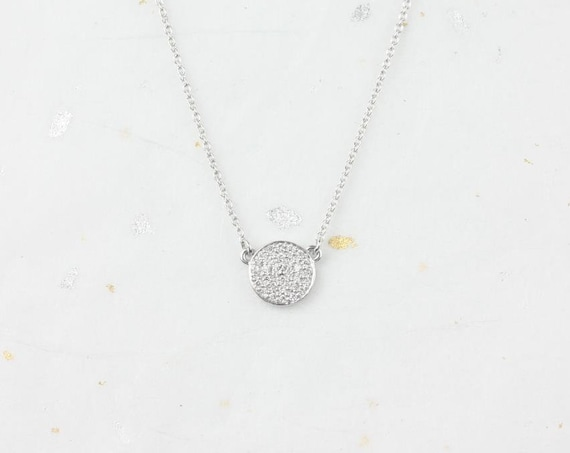 Diskco 7mm 14kt White Gold Diamond Floating Pave Disk Dainty Necklace,Rosados Box