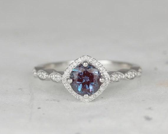 6mm Round Alexandrite Diamonds Kite Cushion Halo WITHOUT Milgrain Engagement Ring, 14kt Solid White Gold, Katya 6mm, Rosados Box