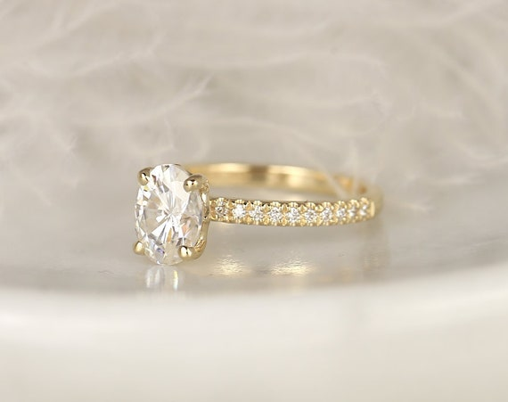 1.50cts Yulia 8x6mm 14kt Solid Gold Forever One Moissanite Diamonds Dainty Art Deco Scarf Hidden Oval Halo Engagement Ring,Rosados Box